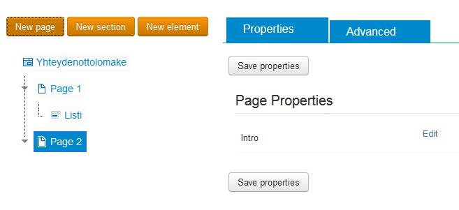 breezingforms page properties